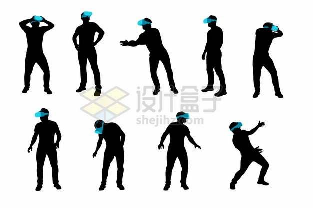 用VR虚拟现实技术眼镜玩游戏看视频的男人剪影586394png矢量图片素材