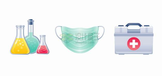 锥形瓶一次性医用口罩医疗箱新冠病毒疫情png图片素材