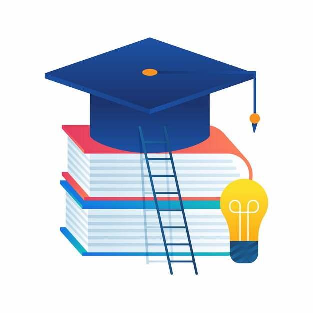书本上的博士帽学士帽和梯子毕业季插画449628png图片素材
