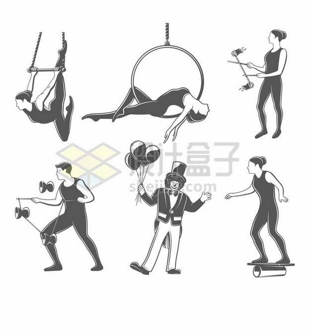 吊环抖空竹等杂技表演项目插画png图片素材