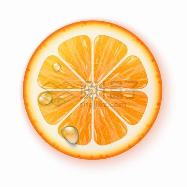 带水珠的橙子横切面美味水果png图片素材