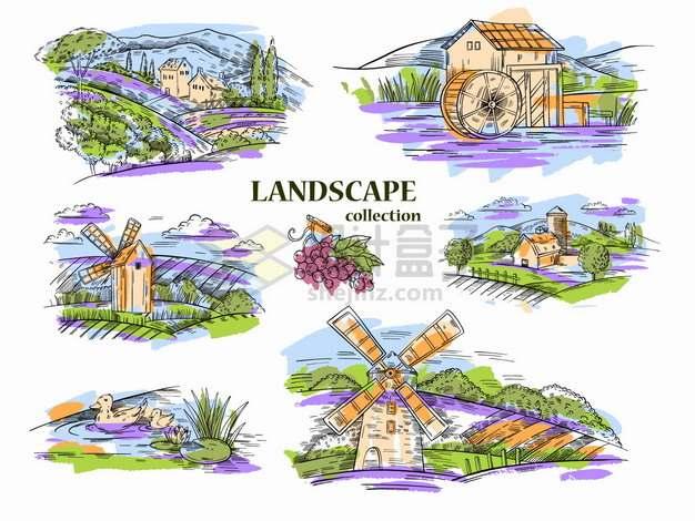 6款水磨坊葡萄园湖泊田野丘陵大风车农舍等乡村彩色素描风景png图片素材