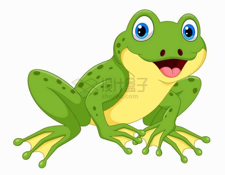 开心的青蛙可爱卡通动物png图片免抠矢量素材
