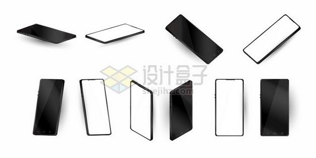 各种角度的黑白色全面屏手机809121png矢量图片素材 IT科技-第1张