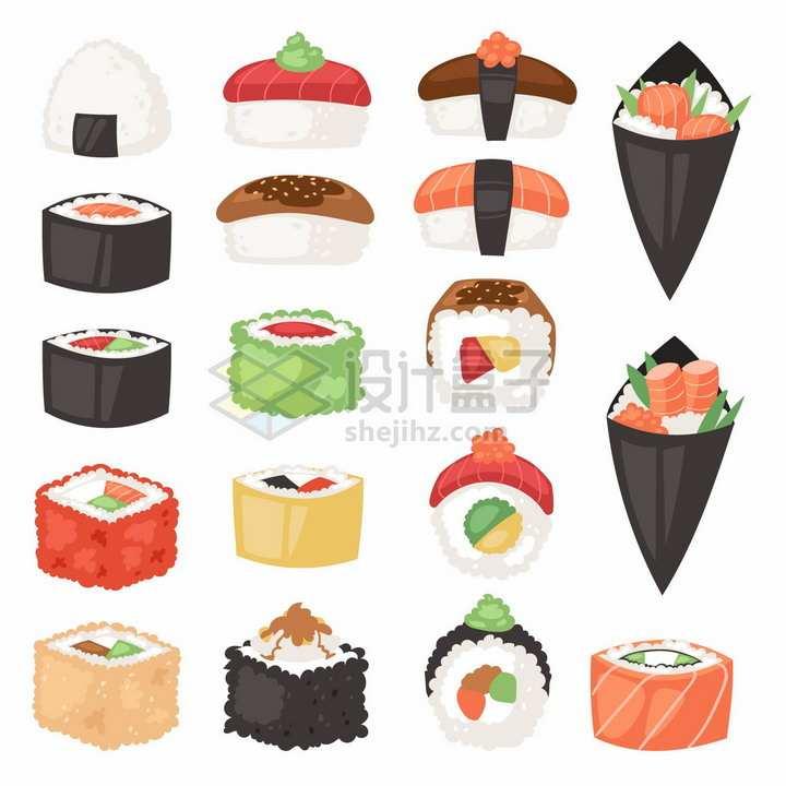 卡通寿司日本料理生鱼片卷海鲜饭等美味美食png图片免抠矢量素材