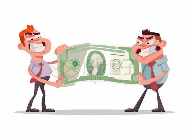 两个卡通男人抢夺一张美元钞票png图片素材