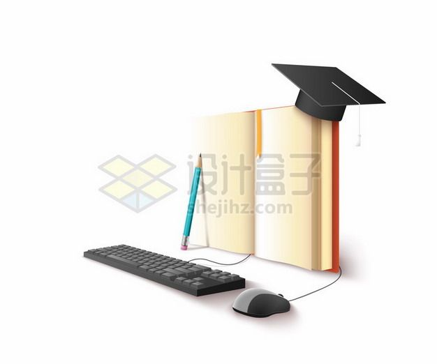 打开书本上博士帽连接鼠标键盘上网课png图片素材
