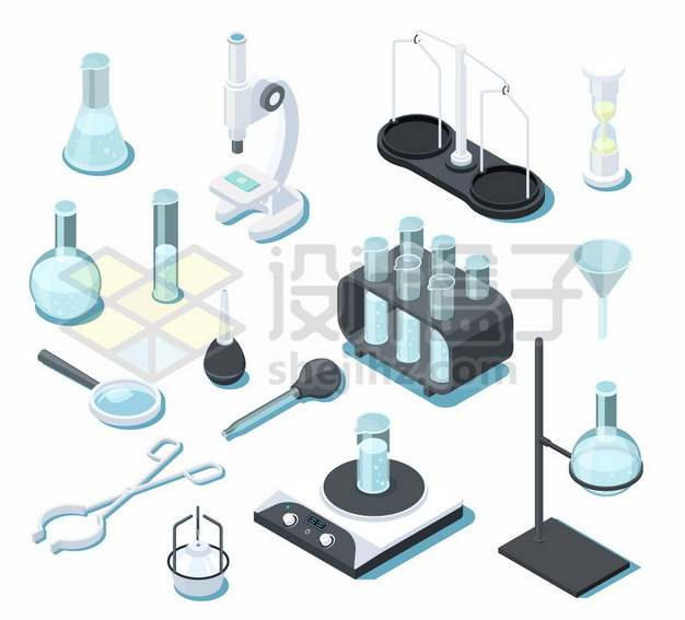 2.5D风格锥形瓶显微镜平底烧瓶试管等化学实验仪器840270png图片素材