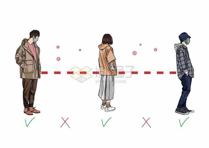 站立排队的年轻人保持社交距离预防新型冠状病毒手绘插画png图片免抠矢量素材