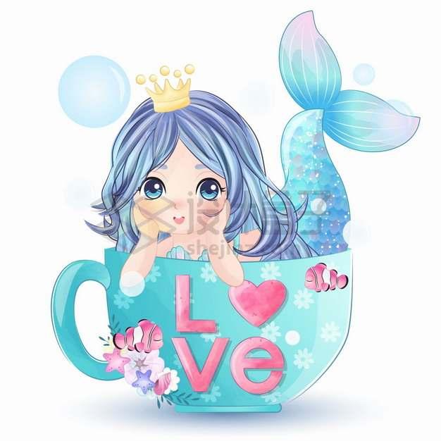 茶杯中的可爱卡通美人鱼手绘插画png图片素材