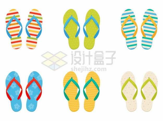 6款糖果色风格的凉鞋拖鞋沙滩鞋716082png图片素材