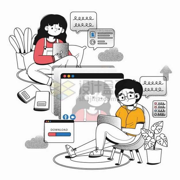 卡通员工远程办公手绘插画png图片免抠矢量素材