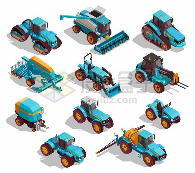 2.5D风格拖拉机收割机播种机等农业机械467962png图片素材