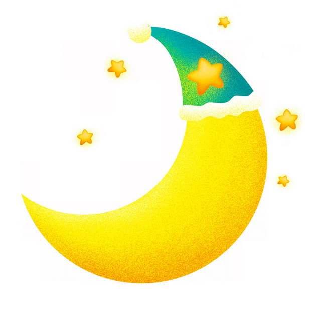 卡通戴帽子的弯月弯弯的月亮941852png图片素材