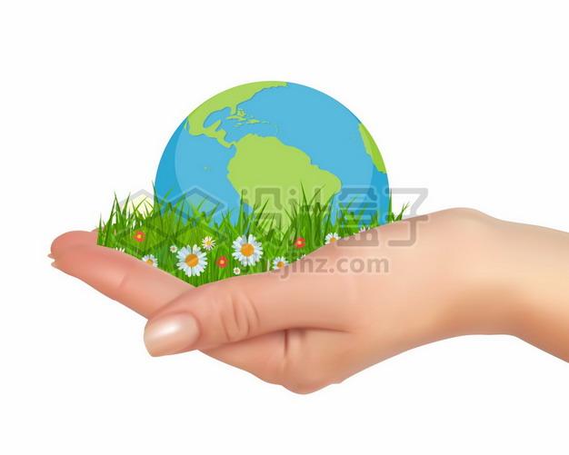 一只手托着地球和草地222203png矢量图片素材 科学地理-第1张