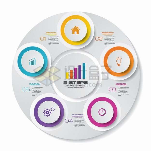 创意同心圆和圆形序号PPT信息图表png图片素材