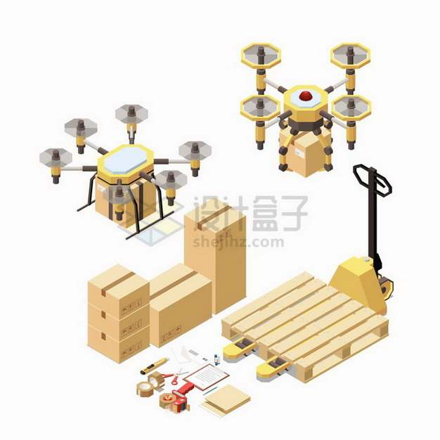 2.5D风格无人机送货纸盒子叉车托盘等物流快递行业png图片免抠矢量素材