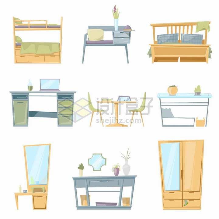 9款卡通上下床上下铺电脑桌办公桌餐桌衣柜等家具png图片免抠矢量素材
