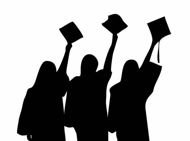 大学毕业生举着毕业证书和博士帽学士帽背影剪影850802png图片素材