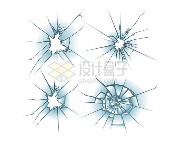 4款蓝色玻璃破碎效果245349png矢量图片素材