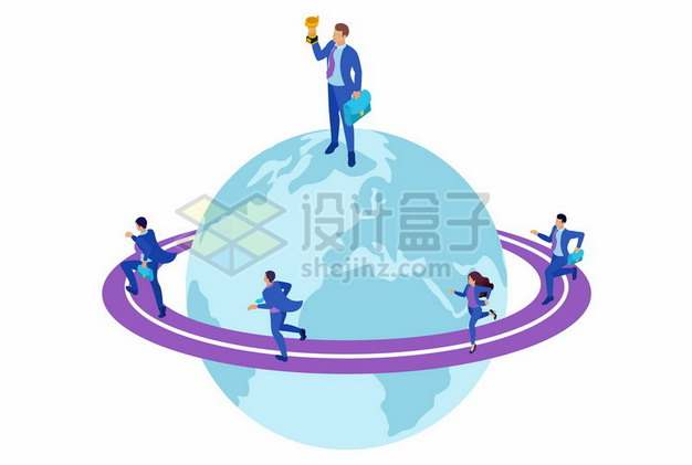 商务人士环绕地球上的紫色跑道跑步631284png矢量图片素材