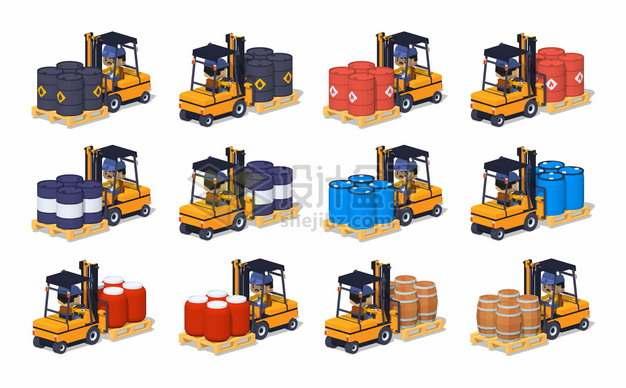 12个叉车托盘上的塑料化工桶和铁桶木桶png图片素材