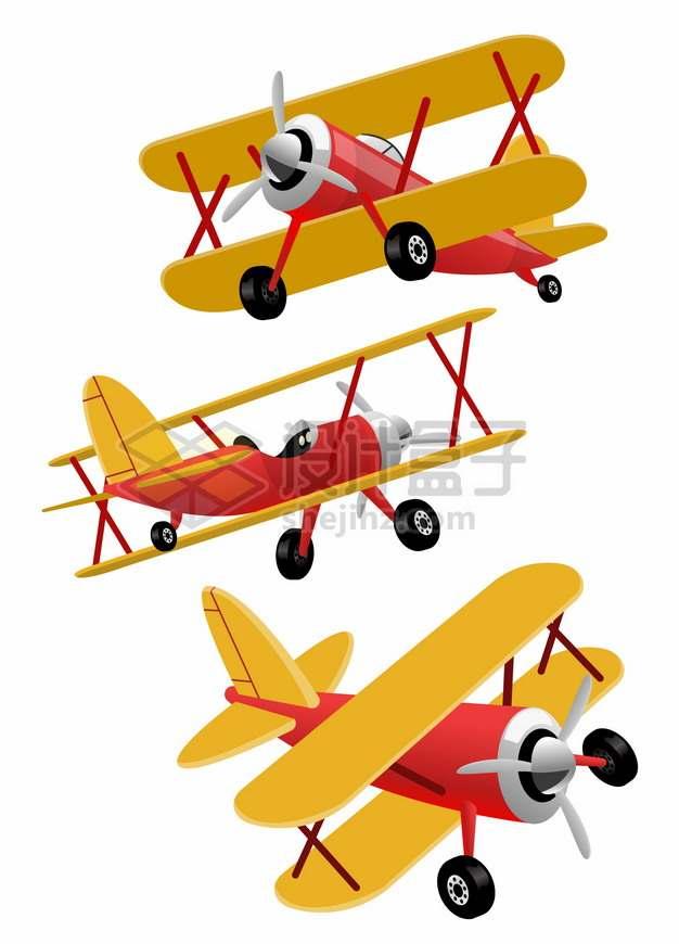红黄双色的卡通双翼战斗机螺旋桨小飞机png图片素材