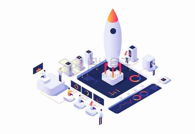 2.5D风格程序员分析数据中的卡通火箭png图片素材