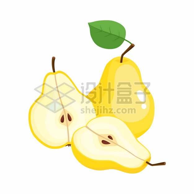 切开的梨子美味水果扁平插画png图片素材