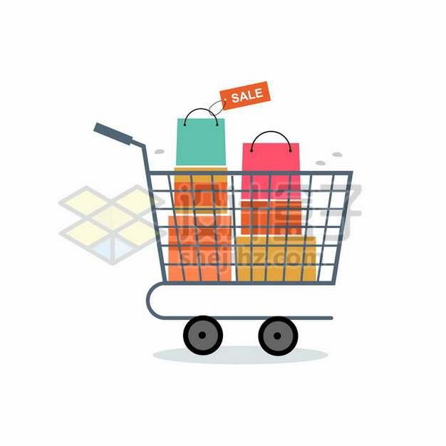 超市购物车中放满了打折礼物电商促销扁平插画740497png图片素材