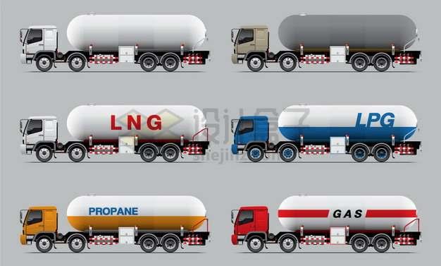 6款油罐车食用油鲜奶运输车液化天然气车特种卡车png图片素材