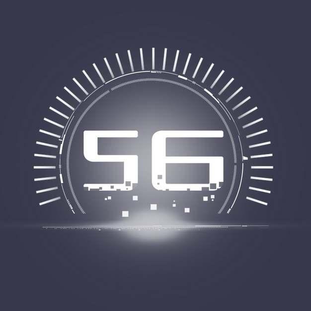 白色5G字体和科技风格圆环装饰424532png图片素材