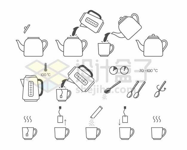 煮咖啡煮茶泡茶步骤图165605png图片素材