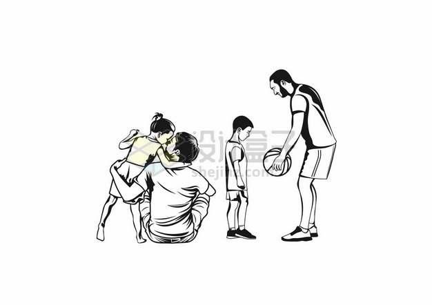 爸爸和儿子女儿一起玩耍父亲节黑白插画380748png图片素材