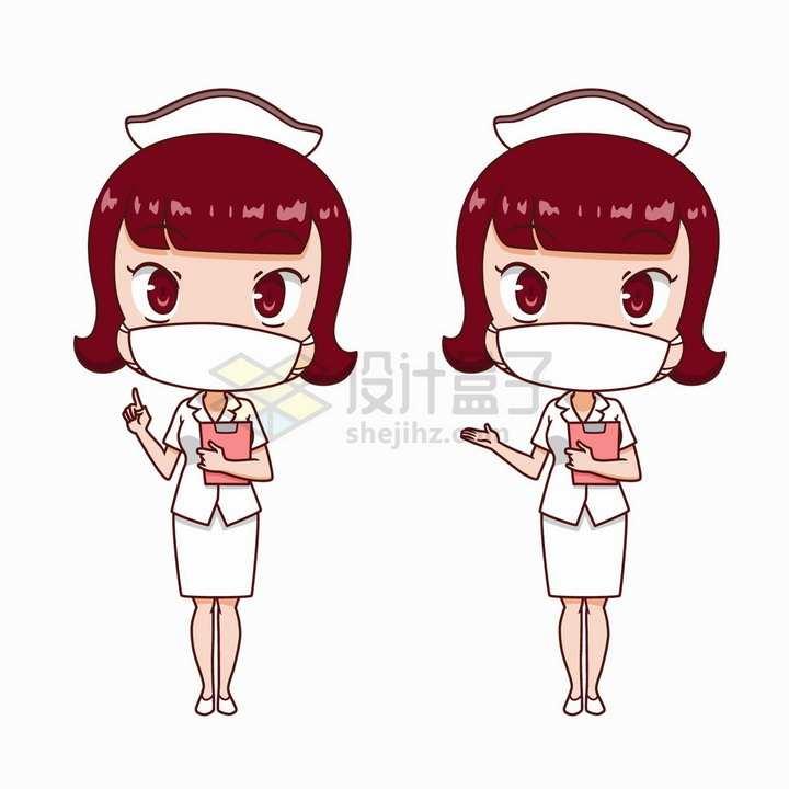 2款戴口罩的可爱卡通护士形象png图片免抠矢量素材