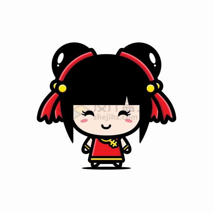 可爱的卡通哪吒头中国女孩png图片免抠矢量素材