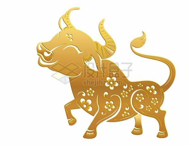 2021年牛年中国风金色剪纸贴花窗花629143png矢量图片素材