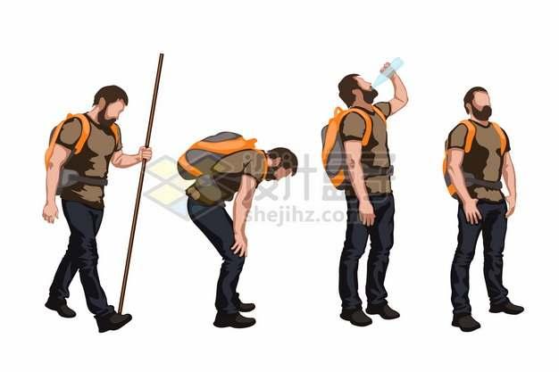 很累停下来休息喝水的背包客徒步旅行者560081png矢量图片素材