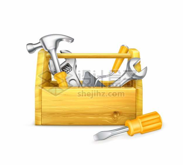 金黄色木制工具箱中的榔头扳手螺丝刀等工具png图片素材