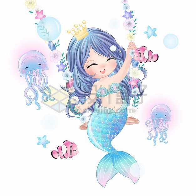 可爱卡通美人鱼举着花朵手绘插画png图片素材