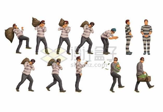 卡通小偷扛着偷来的钱袋子逃跑129661png图片素材