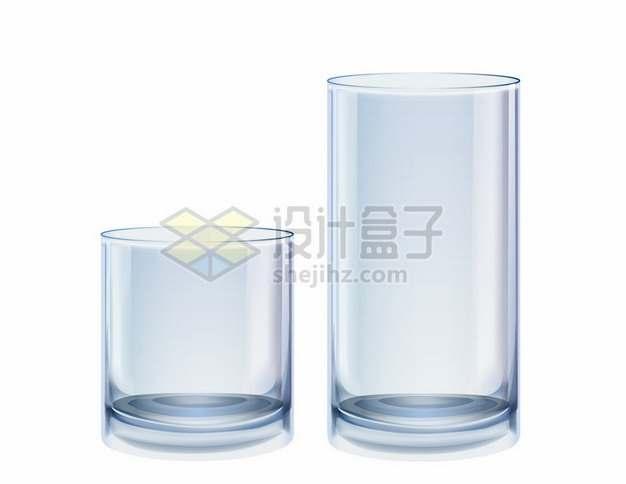 2款高度的玻璃杯水杯茶杯啤酒杯牛奶杯721341png矢量图片素材