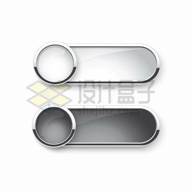 圆形和圆角银色边框组合玻璃水晶按钮png图片素材