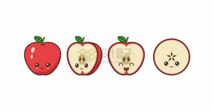 卡通红苹果自带各种表情水果png图片免抠矢量素材