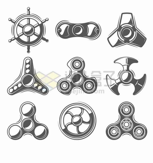 9款黑白色的手指陀螺指尖陀螺玩具png图片素材