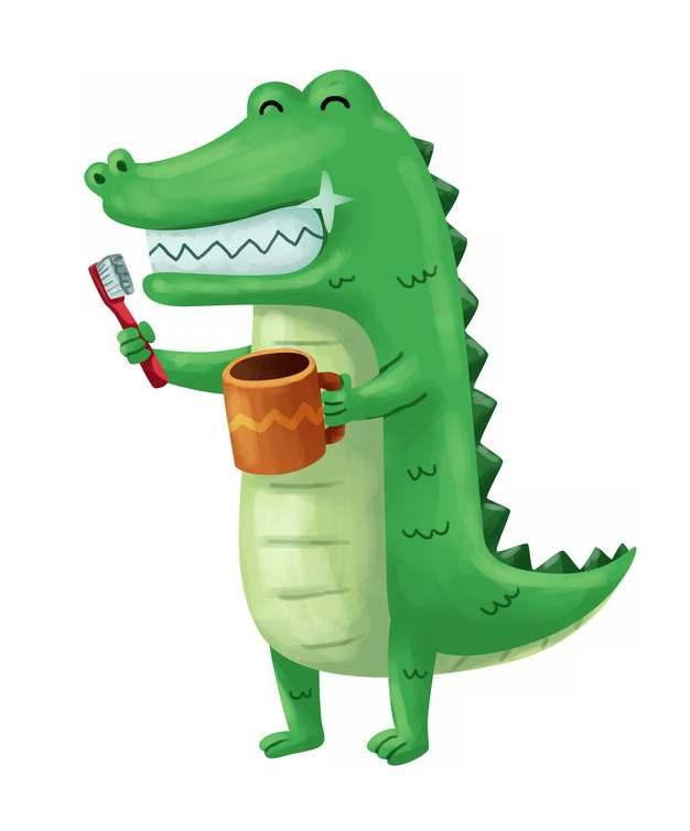 可爱卡通鳄鱼刷牙png图片素材