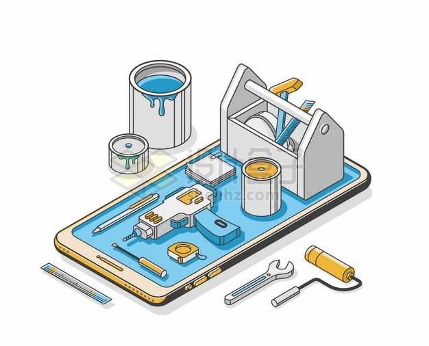手机上的油漆桶电钻刷子等装修用品998901png矢量图片素材