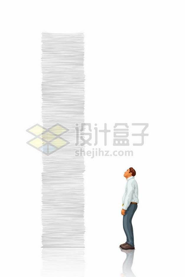 颓废的男人看着高高的纸堆象征了繁重的工作543668png图片素材