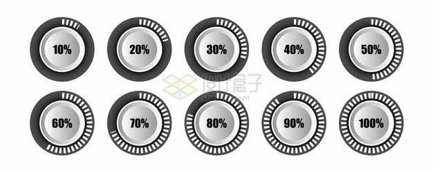 立体风格圆形旋钮进度条百分比426280png图片素材