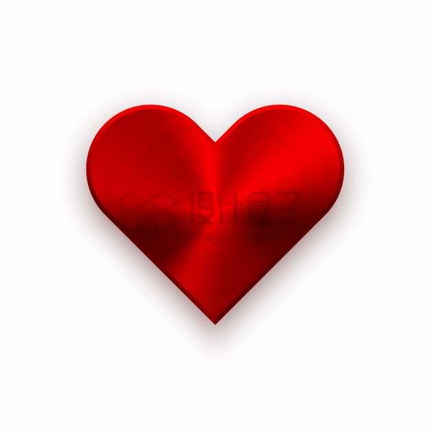 红色金属拉丝风格心形红心按钮png图片素材